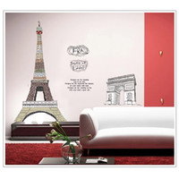 arch cabinet - Eiffel Tower Arch of Triumph Wall Decal Removable Sticker for Bedroom Art Decoration Mural Decor cm adesivo de parede