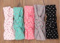 toddler jerseys - Hot Sale Jersey Girls Headband Polka Dots Cross Knot Girls hair accessory Knit Cotton Baby Toddler headband