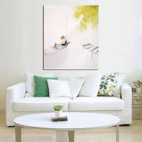 Livraison gratuite et peints à la main Images sur toile Pêche sous l'arbre Peinture à l'huile pour salle Décor Peinture mur Hang Craft