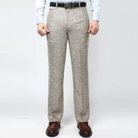 al por mayor s de los hombres del verano del juego-Venta al por mayor-Hombre de negocios Casual Thin Suit pantalones de lino verano estilo sólido pantalones de trabajo recto para el hombre Pantalones clásicos Anti arrugas 42