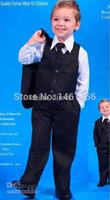 Gros-gros - Boy Groom Tuxedos Veste + Pantalon + Tie / Bow Tie + + chemises Vest Costumes de mariage Costume Dress 5 pièces exposées