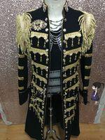 best service pants - Film Fit BLACK Best Man Sequin coat Suits Groom Tuxedos Tailcoat Men s stageLSuit Tailcoat Wedding Singer performance service Jacket Pants