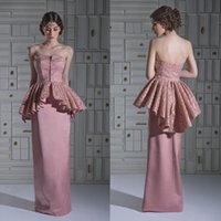 Reference Images Strapless Satin 2014 Evening Dresses Column Strapless Lace Satin Peplum Sleeveless Backless Pink Long Prom Gowns New Arrivals dhyz 04