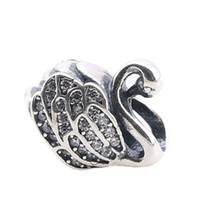 angel stones - Authentic Pandora Silver Swan Charm Pandora Silver Charms Animal Loose Stone Beads DIY Jewelry for Thread Bracelet PX0079 B