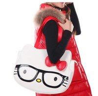 Wholesale Big Bowknot Eyeglass Design Hello Kitty Women Lady Girl s Leather Handbag Bolsas Femininas