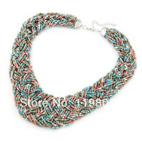 Cheap Free shipping 2014 high quality hand made weaved seed bead necklace chunky