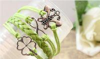 Wholesale Charm Bracelets multi alloy fittings hand woven leather bracelet