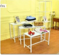 Wholesale Iron clothing rack clothing store window design showcase vintage wood display racks water table Desk