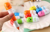 Wholesale 2015 reatil Cute Face Pill Ball Point Pen cartoon lovely Telescopic Vitamin Capsule Ballpen Stationery