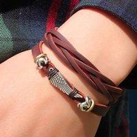 asa box - Men s Bracelet Leather Braided Legitimate Angel Wing Pulseira Masculina Couro Asa De Anjo