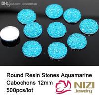 aquamarine cabochons - mm Resin Rhinestone Flatback Round Shape Aquamarine Resin Rhinestone Kawaii Cabochons Sparkly Resin Stones For Garment