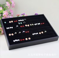 Wholesale Jewelry Display Shelf Black Velvet Leatheret Ring Ornaments Display Case Jewelry Box Tray Showcase