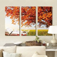 autumn nature pictures - 3 Panel Modern Printed Autumn Tree Painting Picture Cuadros Canvas Art Nature Landscape Painting For Living Room Picture Unframe