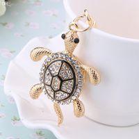 rhinestone keychain - Novelty items Rhinestone kawaii Tortoise Keychain Metal Keyring Fashion charm Animal Turtle Key Holder Jewelry bag Pendant gift