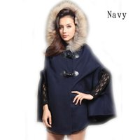 Wholesale Winter New Womens Hooded Poncho Cape Coat Half Sleeve Batwing Warm Faux Fur Shawl Faux Wool Jacket Casaco Feminino Hot Sale