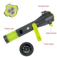 Wholesale DHL in1 Emergency Auto Safety Escape Hammer With Seat Belt Cutter Flashlight Dynamo Cellphone Charger Y4302A