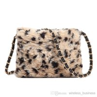 Wholesale New Arrive Sweet Female Bowknot Mini Shoulder Messenger Bag leopard grain bag autumn and winter Plush bag LY R05