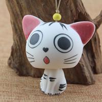 Wholesale Japanese wind chimes door trim ornaments handmade ceramics in Jingdezhen original cheese factory little odd cat