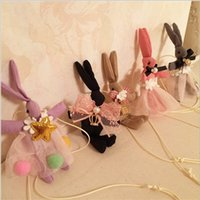 Wholesale Baby Girls Bunny Rabbit Necklace Girl Lace Butterfly Bowknot Pearl Crown Star Hollow Necklaces Kids Rabbits Jewelry Design D4421