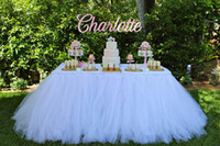 wedding table decoration - Pure White Table Tutu Skirt Wedding Decorations Tulle Table Cloth Custom Made By Factory High Quality Cheap Table Skirting For Party