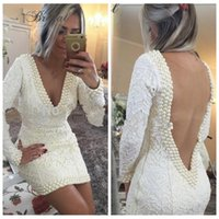 apple shaped dresses - 2016 New Sexy Deep V Neck Sheath Lace Ivory Prom Dresses Short Lace V Shape Back Custom Online Formal Cocktail Party Gowns Long Sleeves