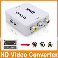 av chip - 1080P HDMI to AV Converter RCA CVBS Audio Video Adapter For HDTV Chip Mini HDMI2AV DHL OM CD8