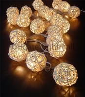 Wholesale 2015 M LED Warm White Rattan Ball LED String Lighting Holiday Christmas Wedding Party Curtain Decoration Lights Xmas colorful