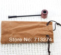 acrylic filter bag - Red Wood Smoking Pipe health cigarette Wooden cigarette pipe filter send cloth bag gift Promotion