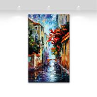 al por mayor decoración de venecia-Venecia River - Cuchillo de paleta pintura al óleo paisaje estilo impreso en lienzo paisaje de la orilla funciona para la decoración de la pared de casa