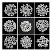 Wholesale 10pcs Brooches For Wedding Bijoux Wedding Broches Fashion Vintage Women Rhinestone Brooch Crystal Flowers Brooches Pins