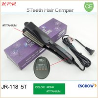 Wholesale 5 Teeth Titanium Hair Crimper Straightening Corrugated Iron Professional Salon And Household Hair Beauty Tool