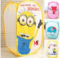 Wholesale New Despicable Me Minions Cartoon Foldable Clothes Toy Laundry Baskets Bin Storage Bag Mesh Kid Child Gift
