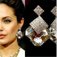no min order - Sparkling min order dangle square crystal earrings famous brand jewelry no pierced earrings