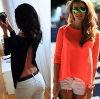 Wholesale S Backless Summer Fashion Women Casual Lace Shirts Chiffon Blouses Tops Hotsale