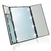 Wholesale S01364 LED Makeup Mirror Toilet Folding Mirror Folding Desktop Portable Mirror