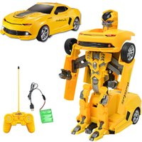 action car sales - 40cm Electric Remote Control Car Yellow Optimus Bumblebee Robots Fashion Anime Action Figure Robots for Boys Hot Sale