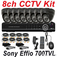 Wholesale Cheapest Cctv Camera Recorders - Cheap 8ch channel cctv kit whole set cctv security surveillance system indoor use dome video camera 8ch D1 HD DVR network digital recorder