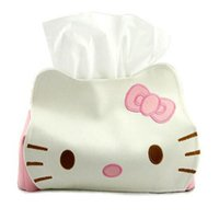 Wholesale HELLO KITTY Cartoon Removable Tissue Box Rectangular Artificial PU Leather Tray Carton Pumping Towel Sets Tissue Pumping