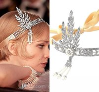 One-Shoulder gold tiara - 2015 New Great Gatsby Vintage Headbands Hair Bands Headpieces Bridal Wedding Jewelries Accessories Silver Crystals Rhinestone Pearls CPA237