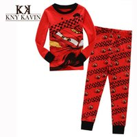 Cheap Casual pajamas kids boys fahsion sleepwear red cars cool pattern baby boys pajamas high quality children winter clothing set