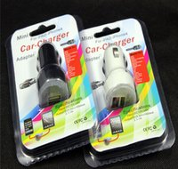 Cheap Wholesale-Hot sale 200pcs lot Dual usb port car charger 2.1A+1A car charger + retail package for iphone 3 4 5 6 for samsung htc xiaomi