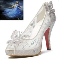 Wholesale 2015 Bling Lace High Heels Sheer Glass Crystal Wedding Shoes Thin Heel Rhinestone Platform Butterfly Cinderella Crystal Shoes