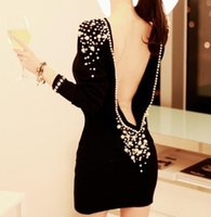 Wholesale Women Sexy Embellished Fancy Plastic Pearls Beaded Backless V back Short Dress