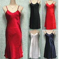 Wholesale Sexy Women Satin Spaghetti Strap Nightgown Babydoll Chemise Sleepwear