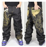 baggy shorts - Hip hop dance jeans Men s gold thread embroidery board shorts Baggy jeans