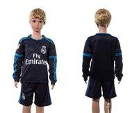 jerseys for kids - Kids Real Madrid Away Soccer Jerseys Youth Cheap Soccer Uniform Long Sleeve Real Madrid Soccer Shirts Blue Soccer Uniform for Kids