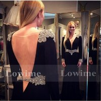Wholesale Black Banquet Evening Gowns Long Sleeves Rhinestones Crystal V neck Spandex Robe de Soiree Abendkleider Open Back Celebrity Dresses