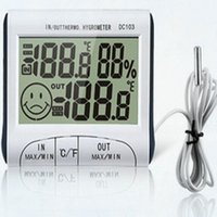 Wholesale Indoor Outdoor Temperature Hygrometer Large Screen Display With Dual temperature Magnetic Memory Clock Thermometer DC103