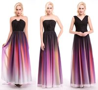 Wholesale Hottest Elie Saab Ombre Strapless Prom Dresses New A Line Sleeveless Pleats Evening Gowns Chiffon Formal Dress With Belt Occasion Dress