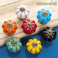 Wholesale Pumpkins Shape Handle Europe Style Ceramic Knobs Colors cm Door Cabinet Cupboard Handle Pull Drawer Furniture Hardware